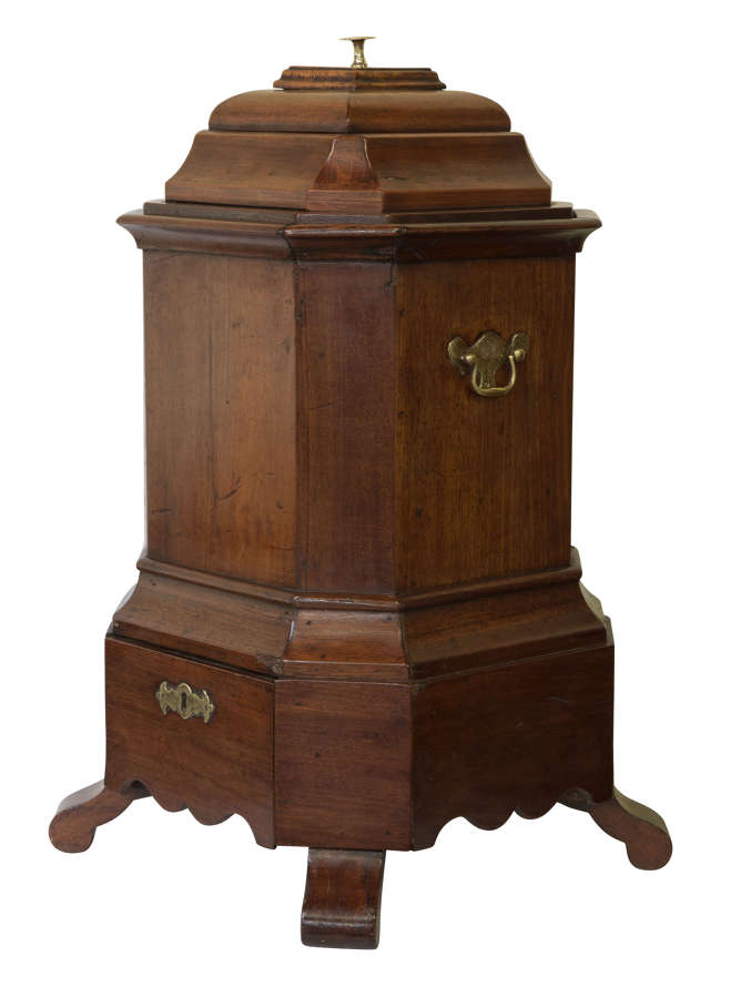 Rare 19thC walnut and brass mounted oyster bucket in Queen Anne style