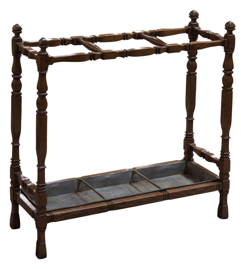 19thC oak stick stand in arts & crafts style c1880