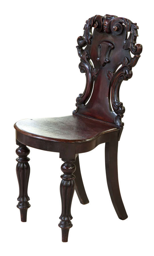 William IV mahogany hall chair with shield back