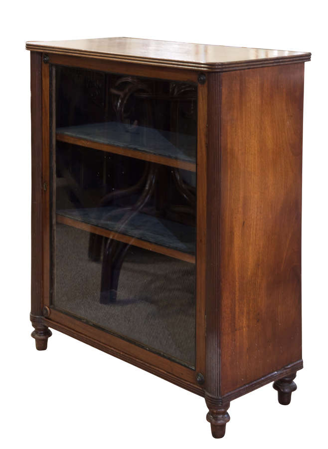 Small Regency mahogany pier cabinet with reeded pilasters to the sides
