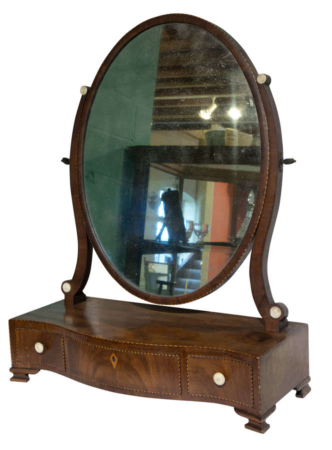 18thC serpentine fronted dressing table mirror c1770