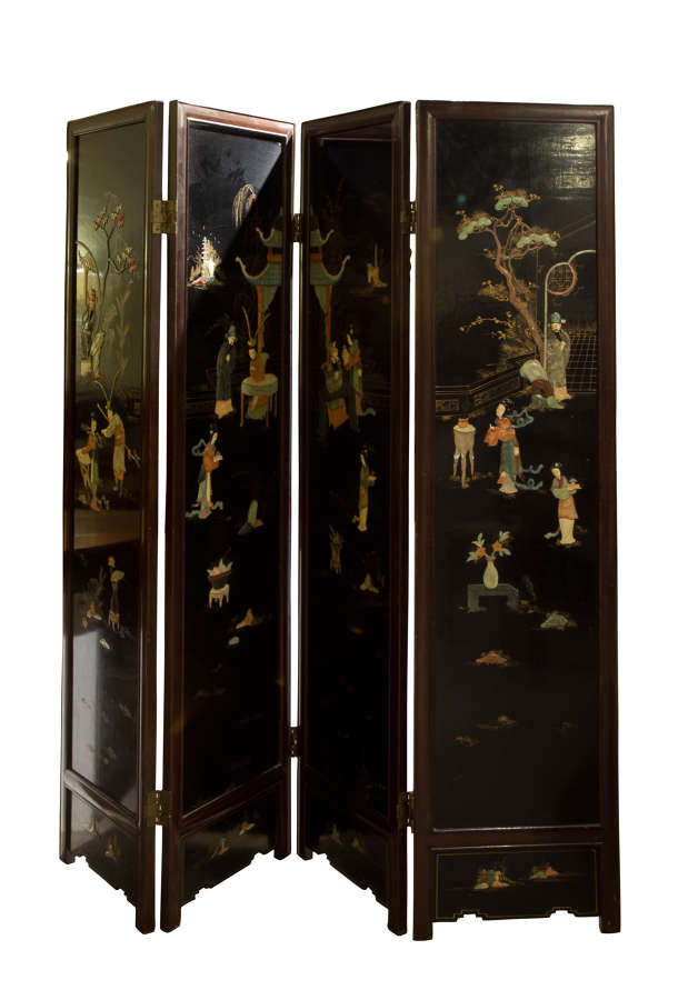 Chinese hardwood frame black lacquer 4 fold screen inset c1950