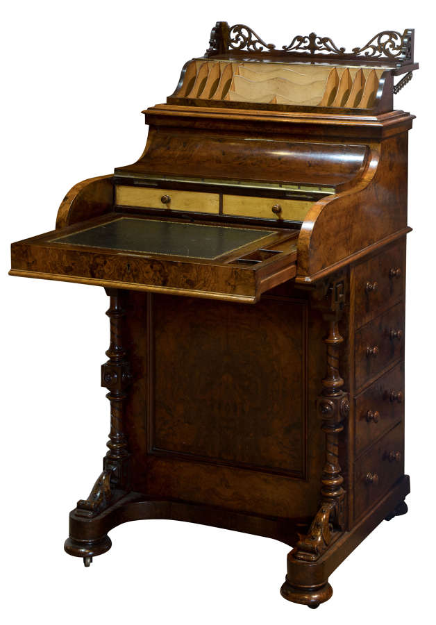 Mid 19thC burr walnut piano front pop-up davenport c1860