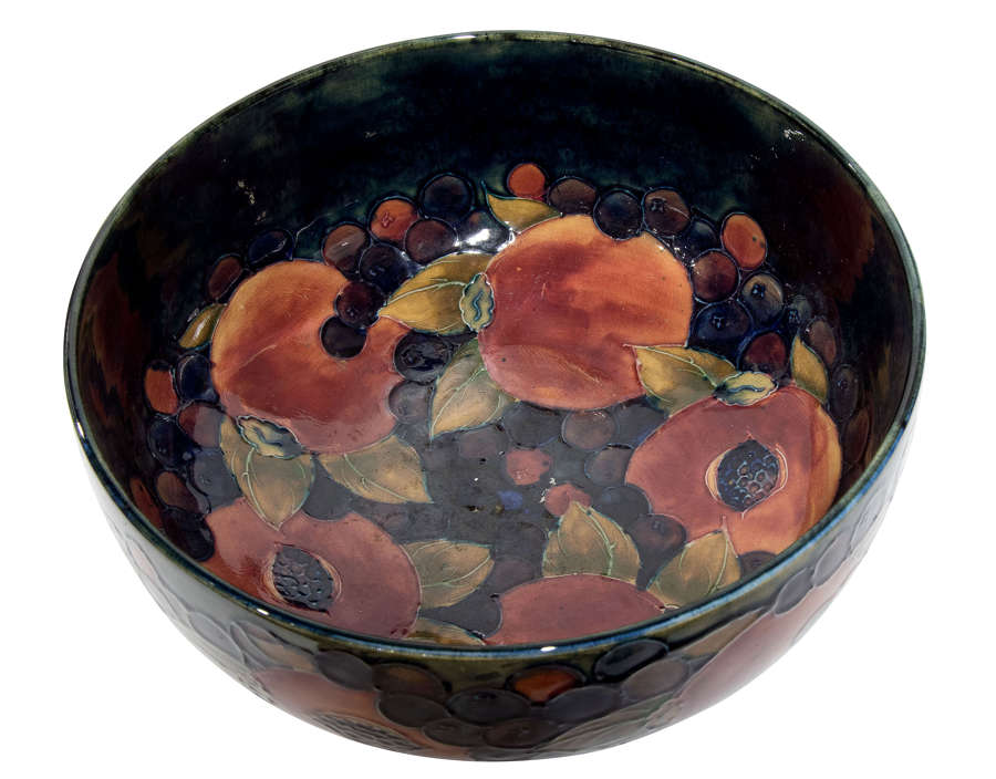 William Moorcroft 1920's pomegranate with seeds 10 1/2