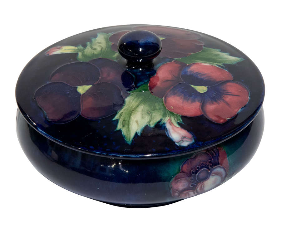 Moorcroft pansy and anemone covered dish c1950