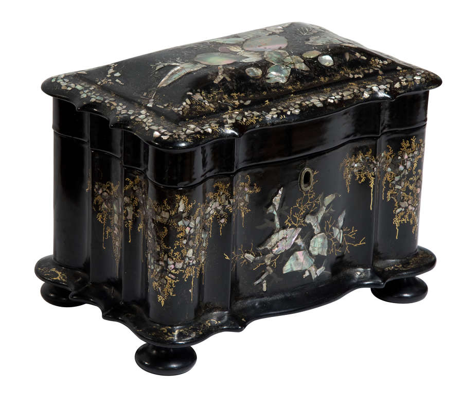 19thC papier mache with mother of pearl tea caddy