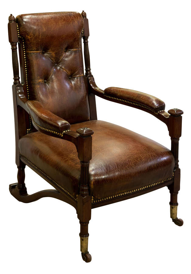 Very rare leather upholstered sleigh armchair c1890