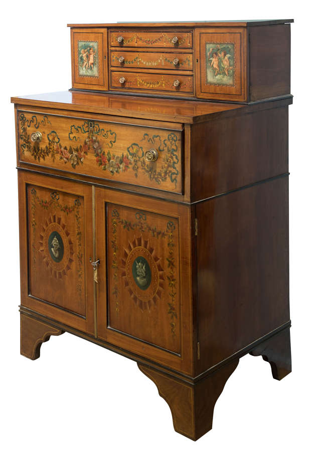 Late 19thC hand painted satinwood/mahogany secretaire & navy leather