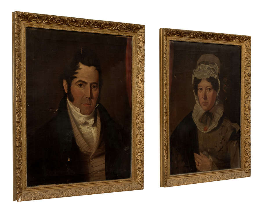 Pair of oil on canvas male & female portraits c1820