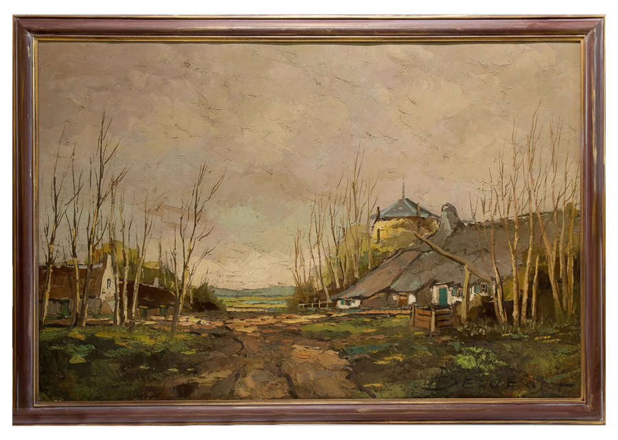 20thC oil on canvas 'Farmstead - Winter