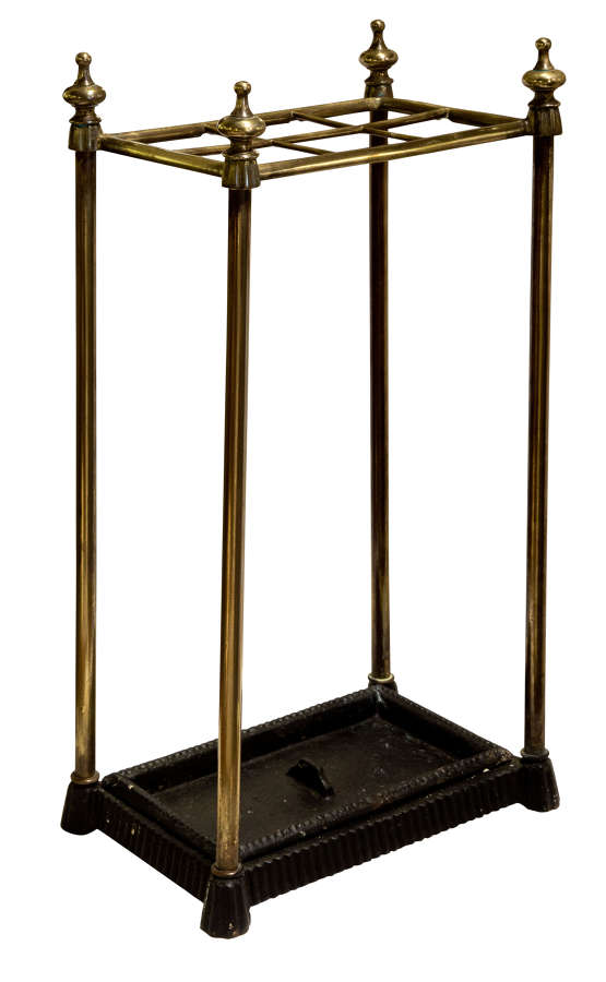 Victorian brass umbrella stand with detachable drip pan