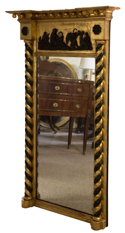 Regency pier mirror with barley sugar columns & ebonised decoration