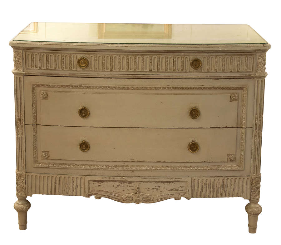 Painted bow fronted commode with plate glass top c1900