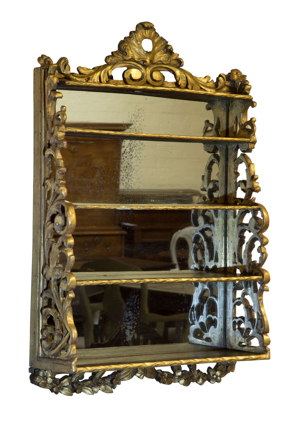 Early Victorian gilt hanging waterfall four tier wall shelves