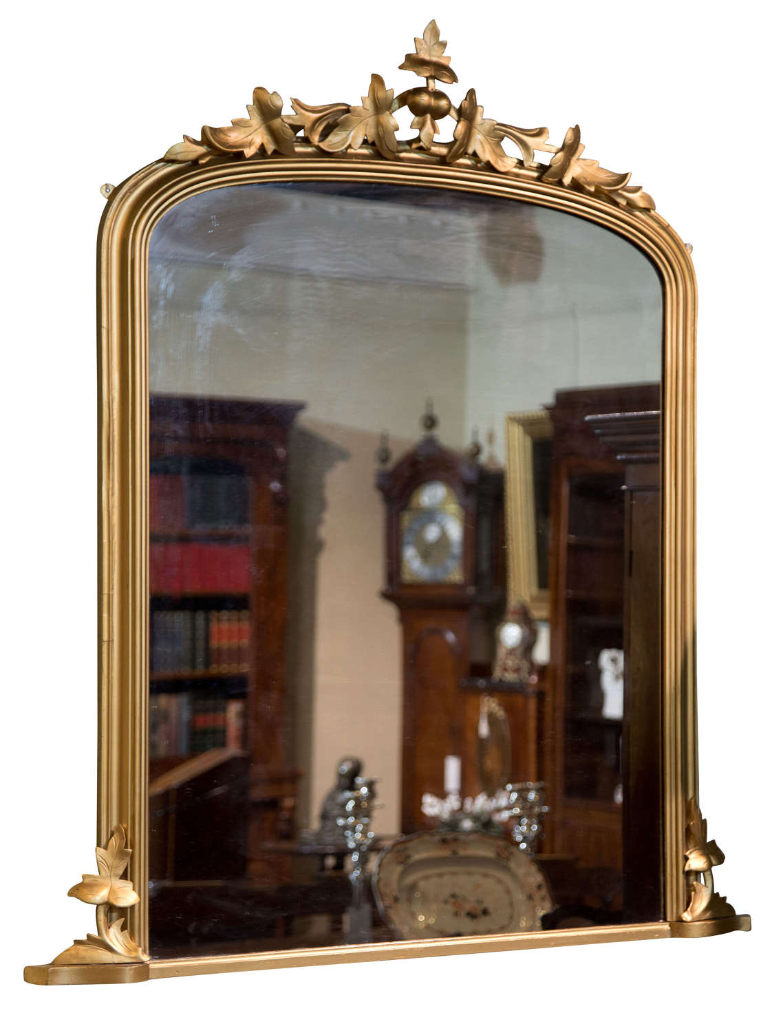 English Victorian carved & giltwood framed overmantel mirror c1860