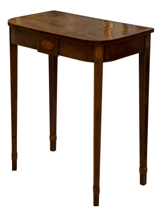 George III mahogany & satinwood inlaid dwarf side on console table