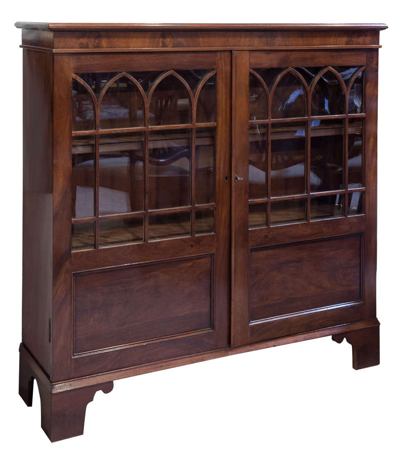 Mahogany glazed & pandled bookcase c1850