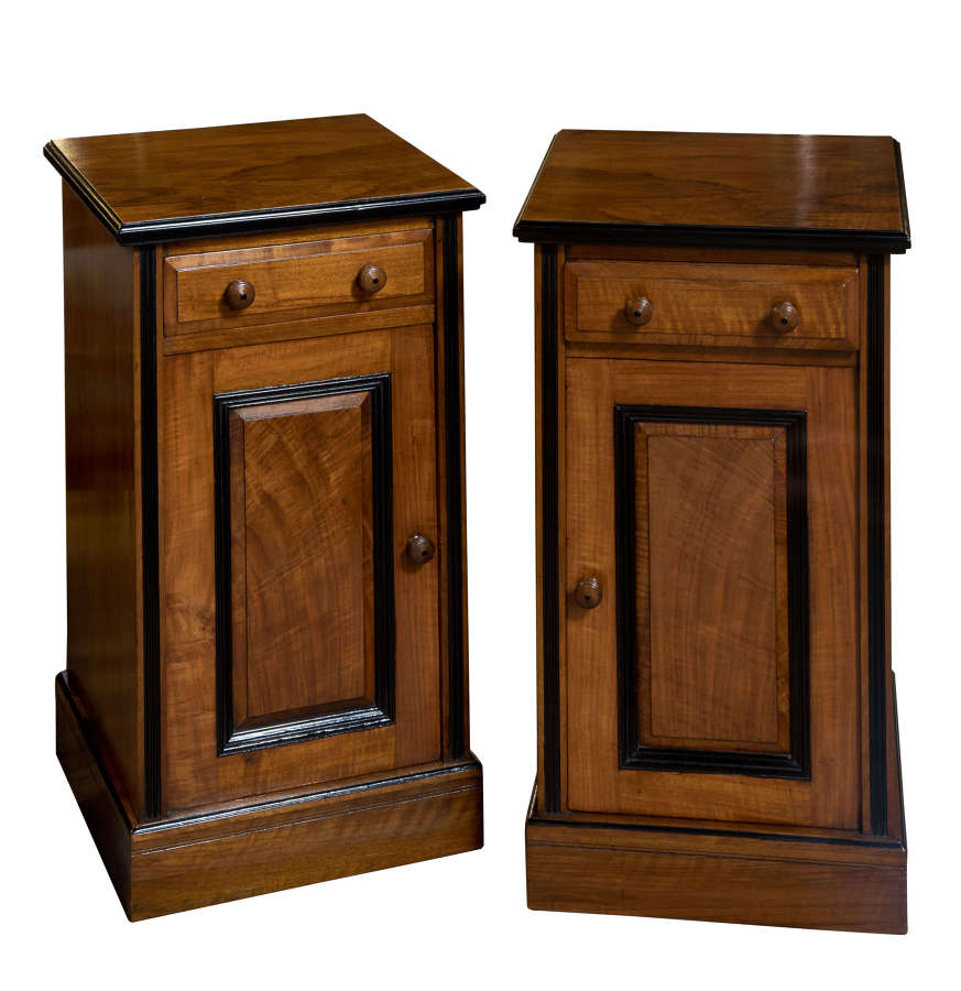 Pair of good quality walnut & ebony bedside cabinets c1880