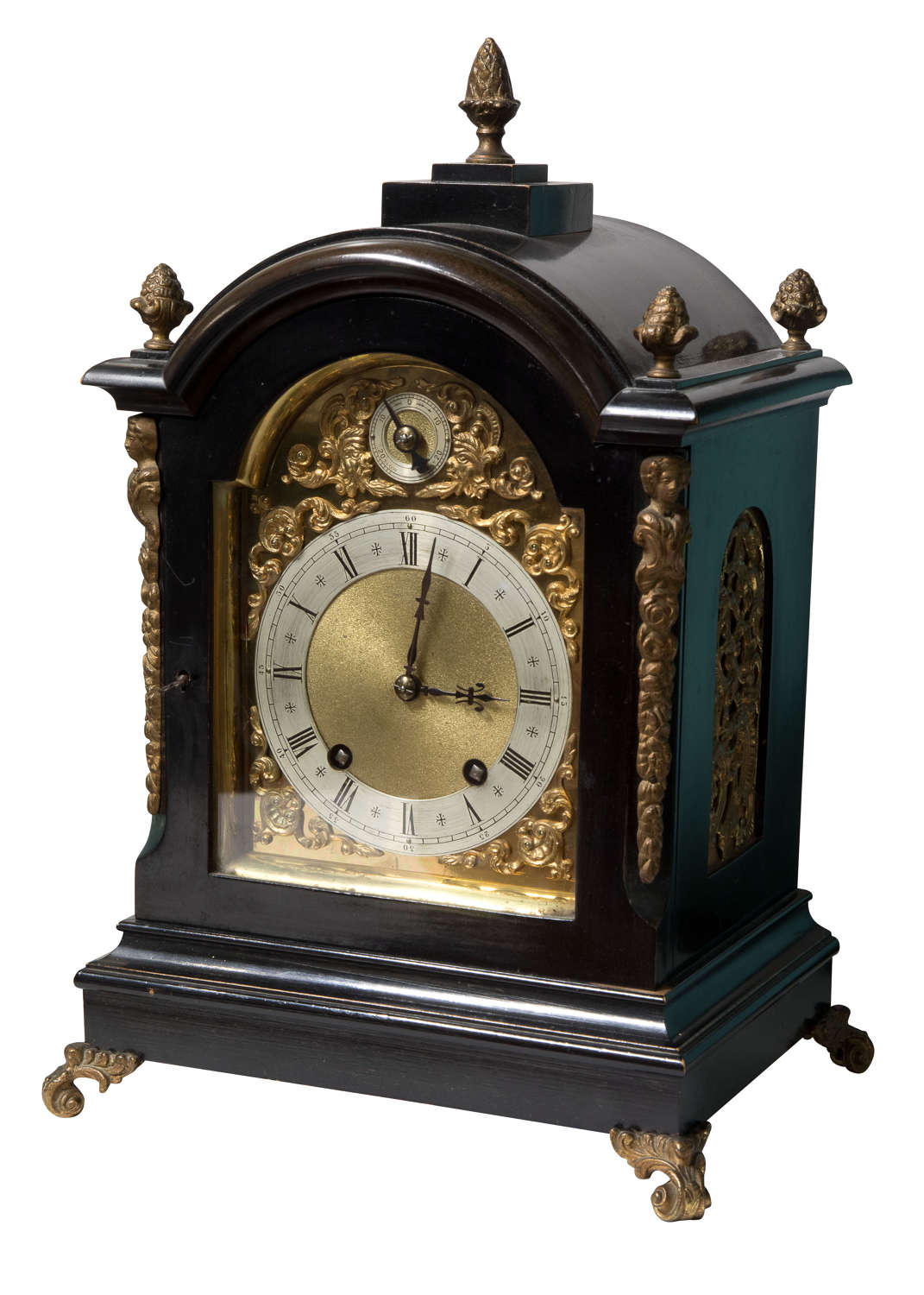 8 Day Ebonised Case Brass Dial Clock