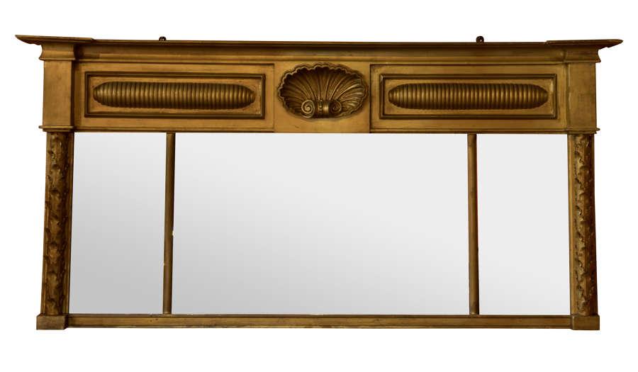 19thc 3 Glass Gilt Overmantel Mirror
