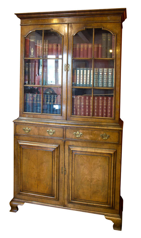 A Good Figured Walnut Queen Anne Style Bookcase