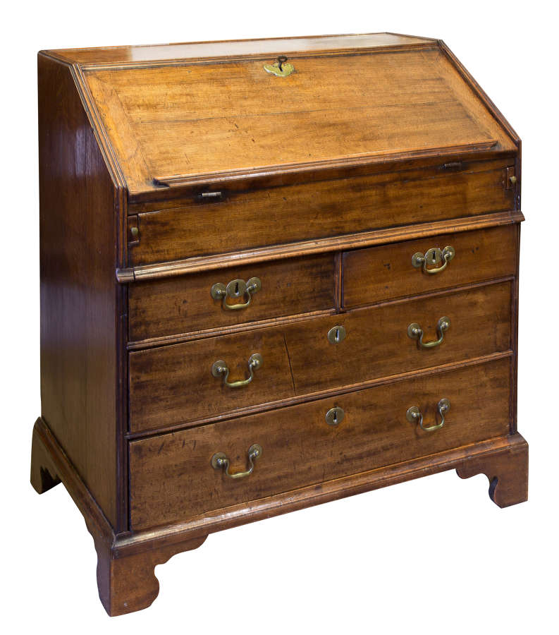 Early 18thc Walnut & Oak Bureau