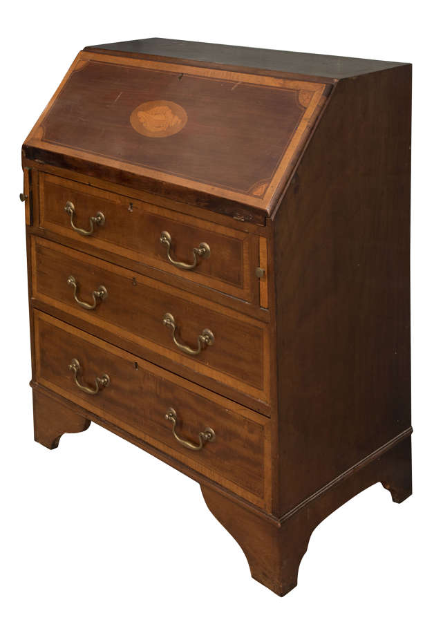 Edwardian Shell-Inlaid Mahogany Bureau