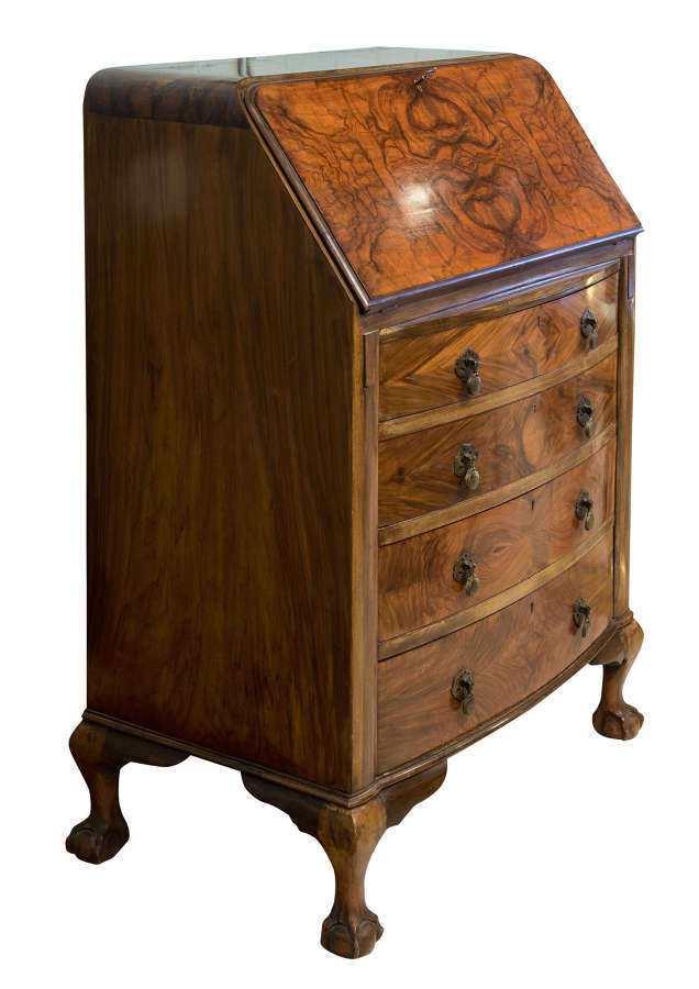Burr Walnut Veneered Bureau