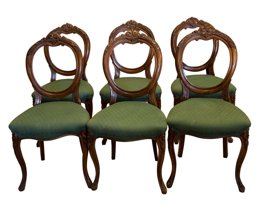 Set of 6 Carved Walnut Balloon Back Chairs