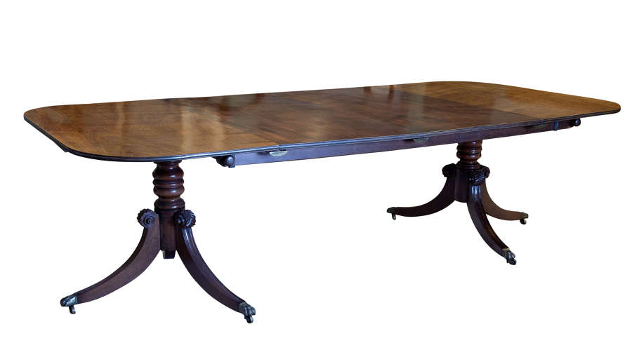 Regency style twin pilar, D end dining table with 2 extra leaves c1900