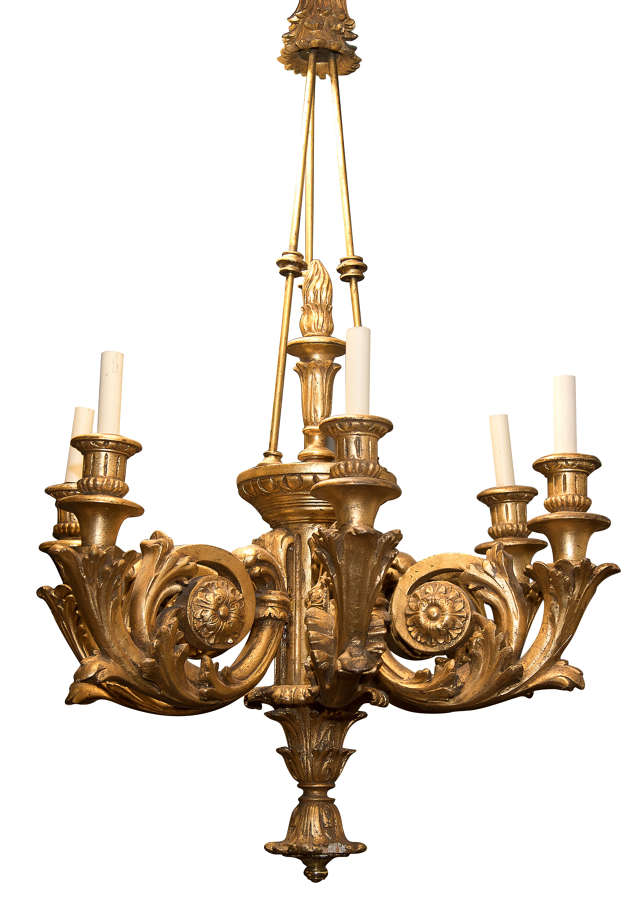 Large carved giltwood 6 arm chandelier c1920 (rewired)