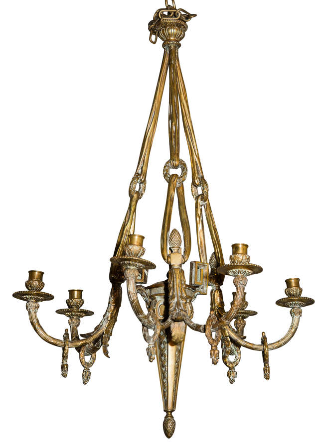 Gilt metal Louis XVI style chandelier with draping & loop decoration