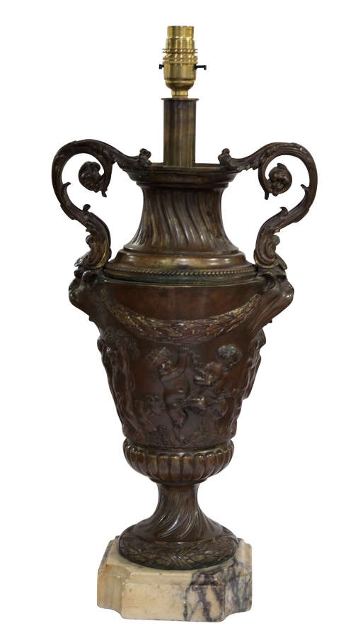 Marble based bronze urn adapted as a table lamp (rewired)