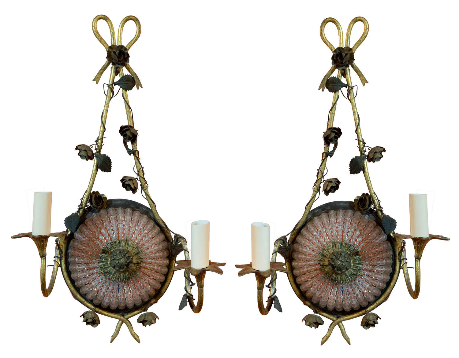 Pair of French decorative wall sconces decorated with flowers c1900