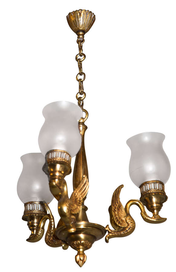 French Empire style 3 arm light fitting with decoration & glass shades