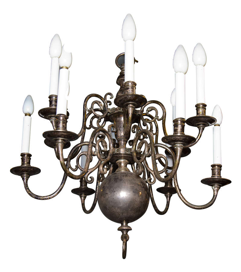 18thC Dutch style silvered chandelier with 12 arms (rewired)