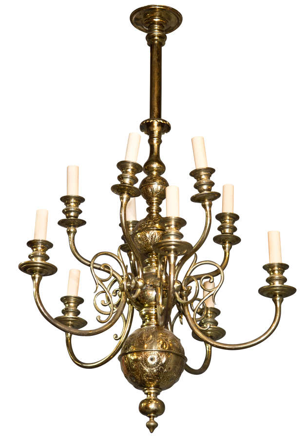 Brass Dutch style 2 tier chandelier with engraved decoration & 10 arms