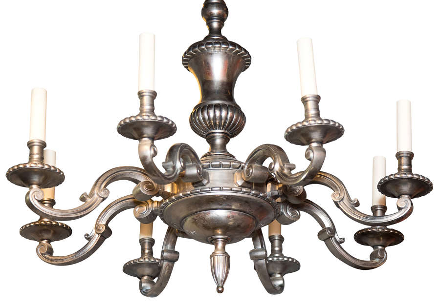 Large 8 light silver metal chandelier in 18thC style c1930 (rewired)