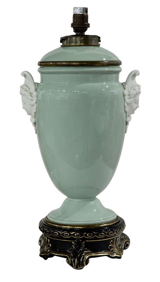 19thC oil lamp in pale green with black & gilt base (rewired)