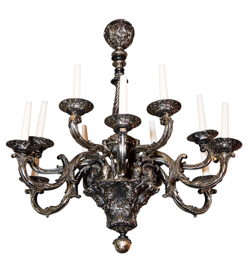 Impressive Louis XV style silvered metal chandelier with 12 lights