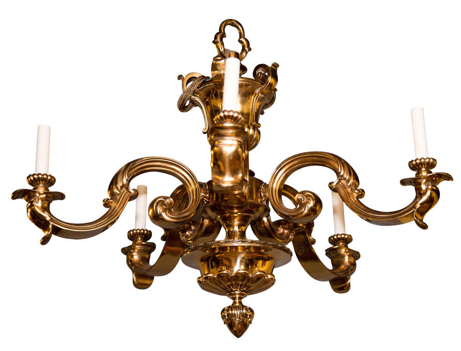 Large pair of gilt metal 5 light chandeliers (1st half 20thC) rewired
