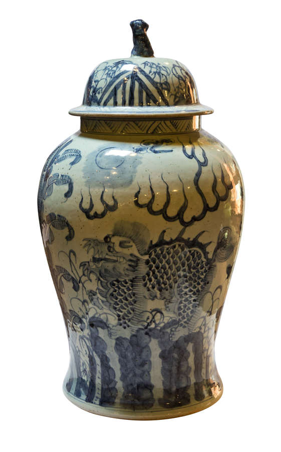 Chinese baluster shaped blue & white vase with its lid c1960