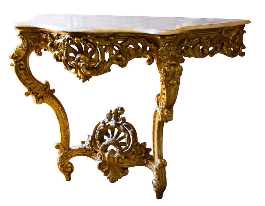 Napoleon III carved giltwood console table with marble top