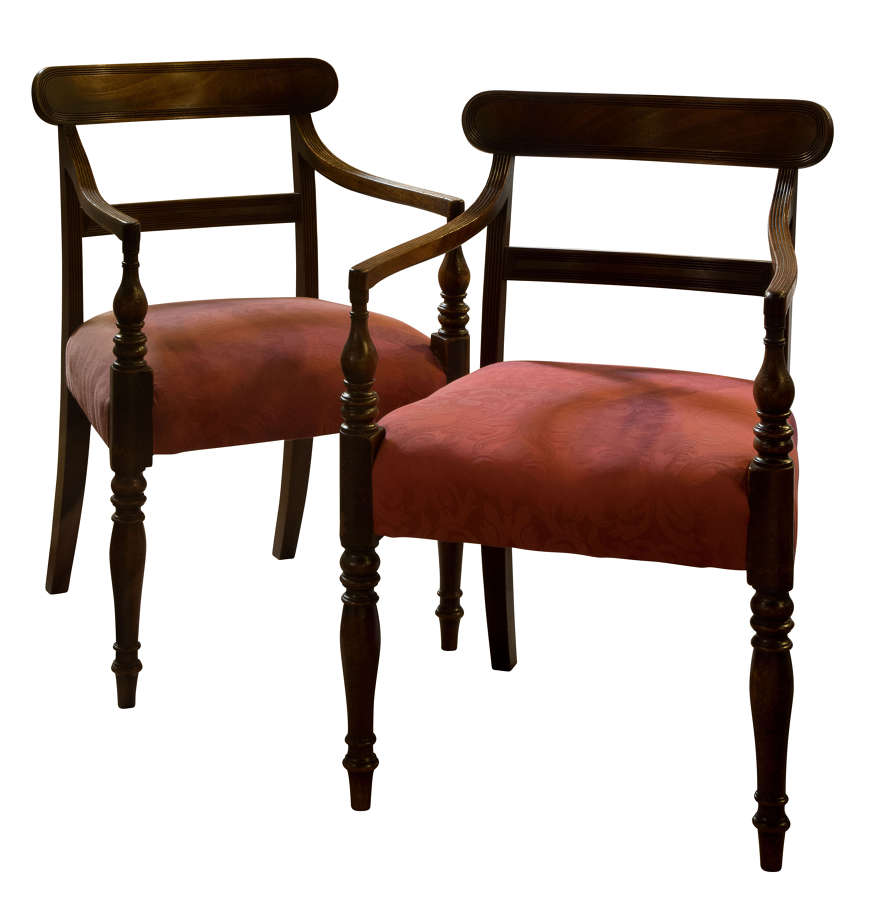 Pair Regency Period Mahogany Desk Chairs