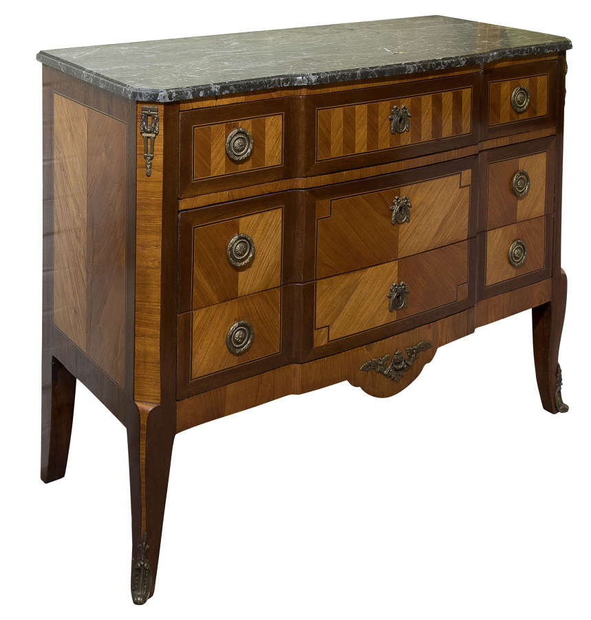 French Transitional Marble Topped Commode