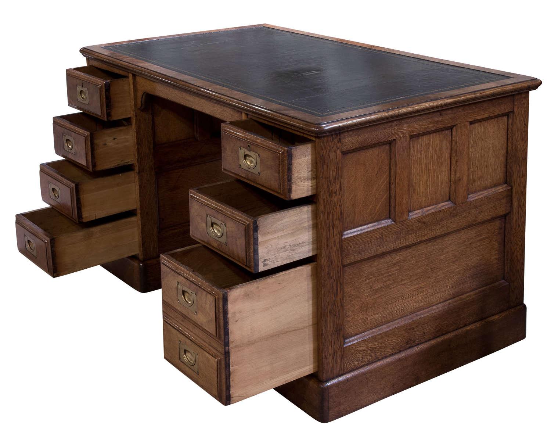 Oak & Walnut Pedestal Desk