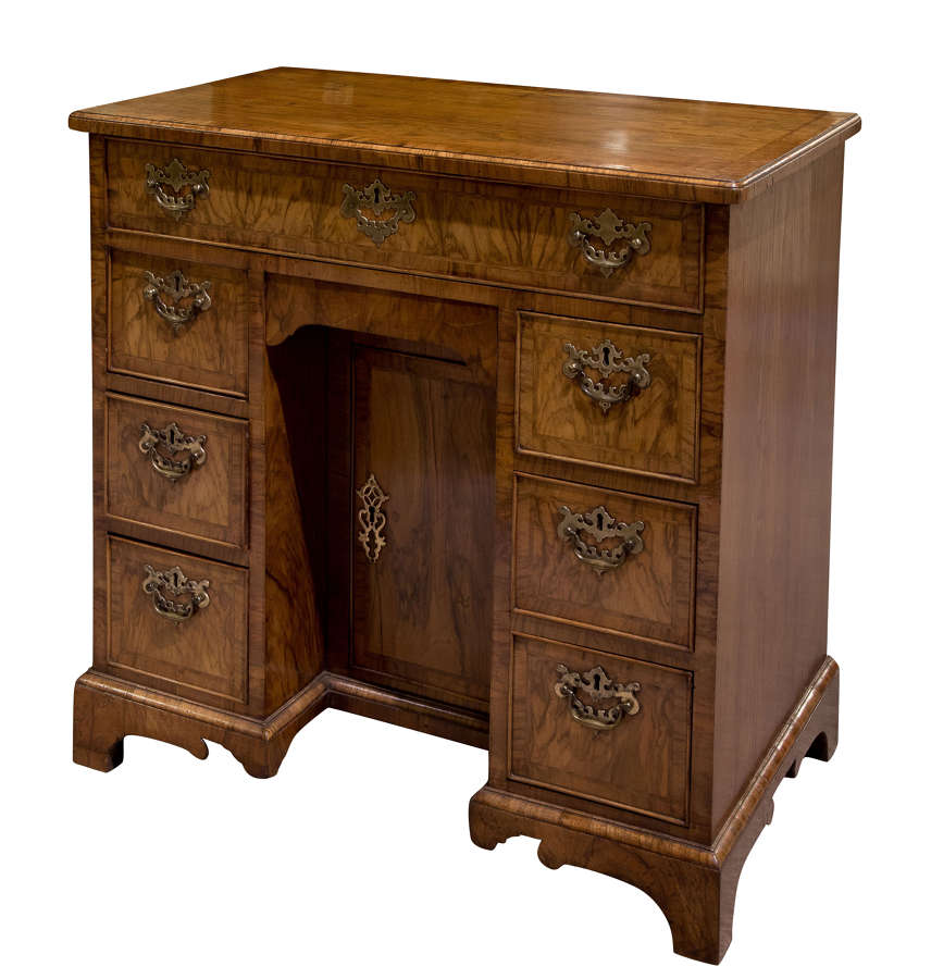 George II Walnut Kneehold Desk