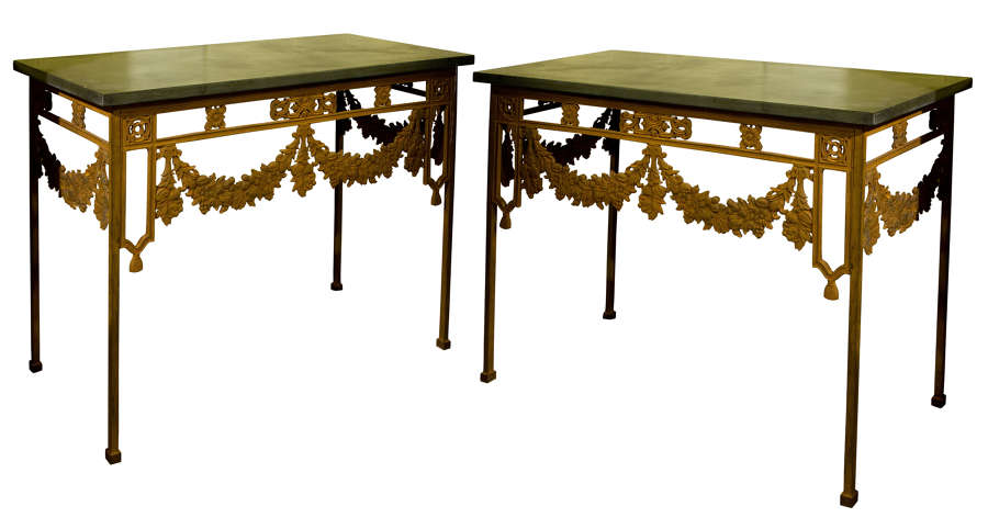 Pair of Cast Iron and Slate Console Tables