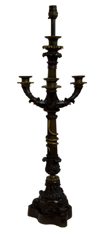 Fine Charles X Bronze Candelabrum