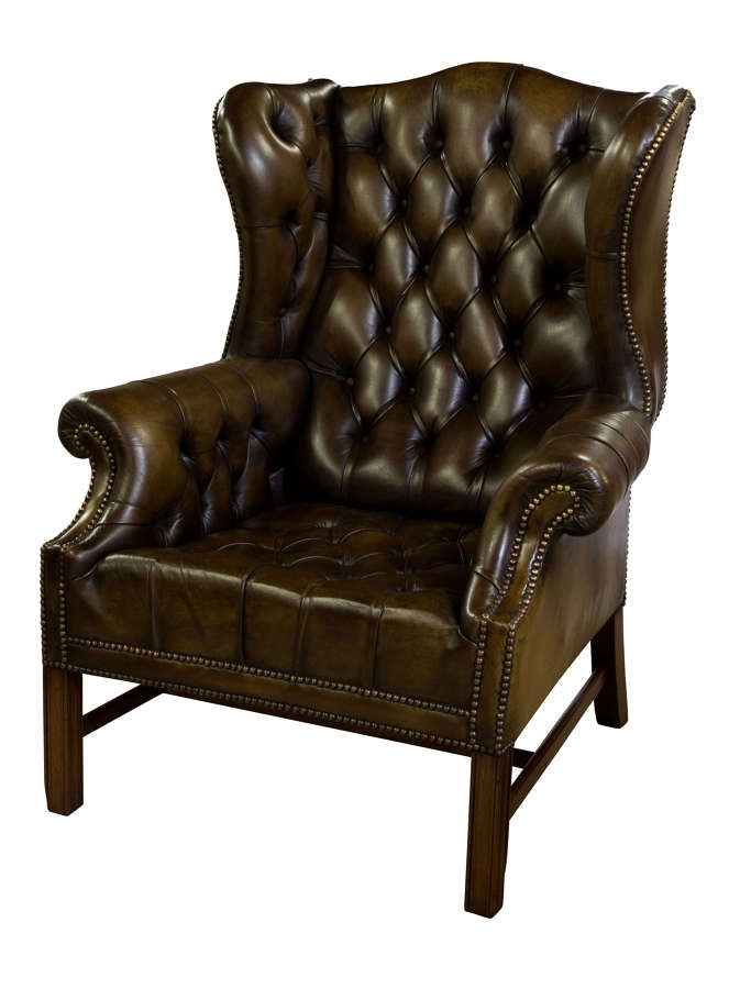 Olive Green Leather Wing Chair c1960